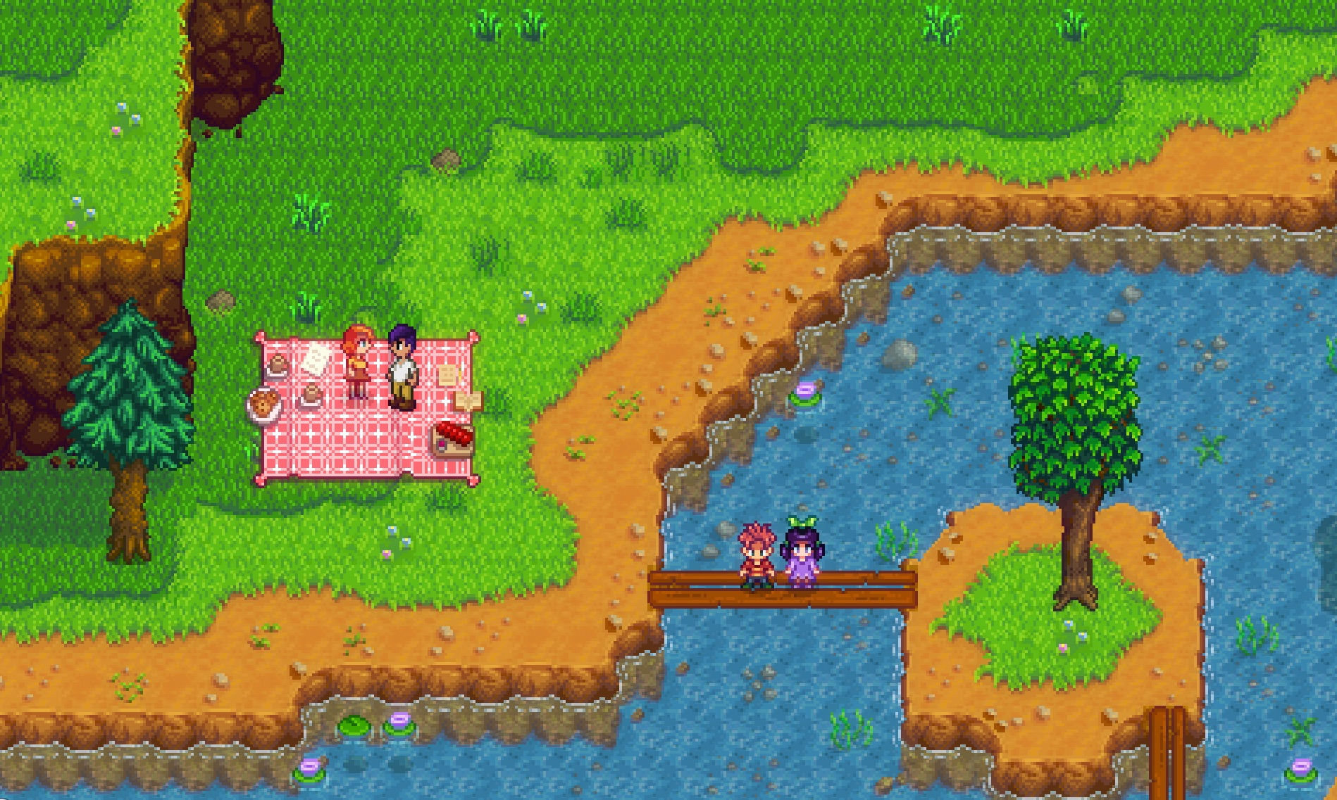 Stardew Valley screenshot of a male                     player character having a picnic in the woods with a redhead female named Penny, as two town children stand on a bridge over a river.