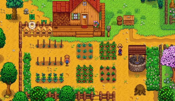 A farmer in a straw hat stands to the right of his crops and farmhouse admiringly.