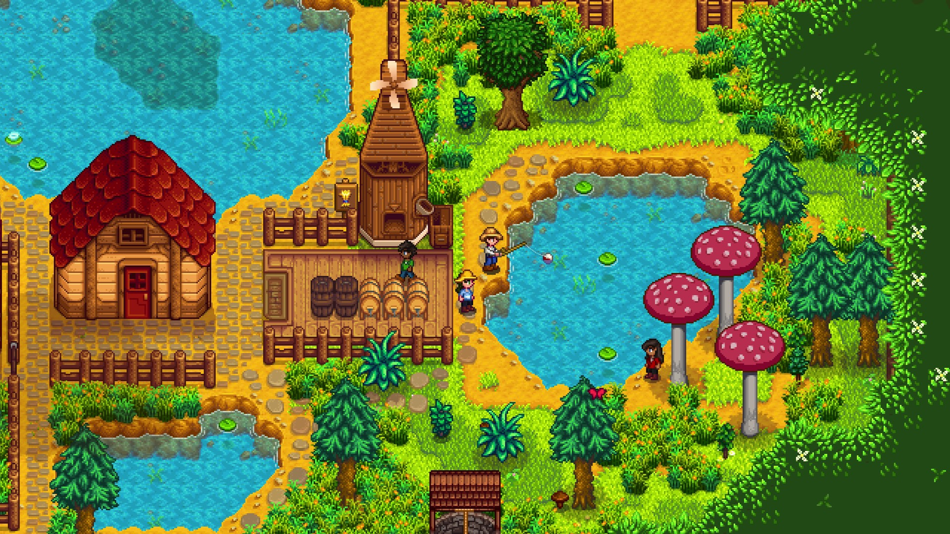 Stardew Valley screenshot of four player characters on a farm with a shed and mill, surrounded by trees and tall mushrooms.
