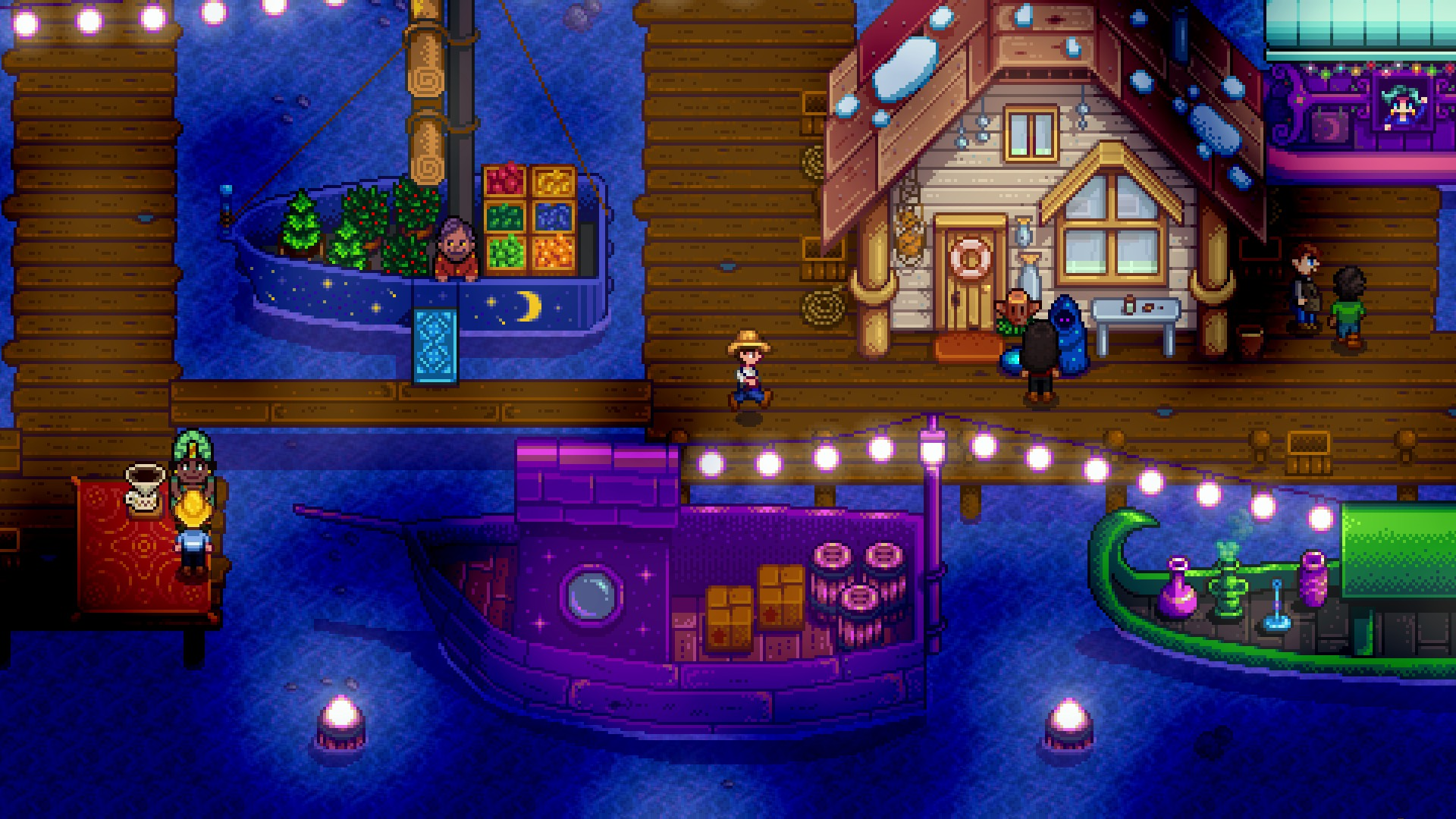 Stardew Valley screenshot of the game's Night Market, in which the pier is decorated with lights and vendors sell goods from various small boats.