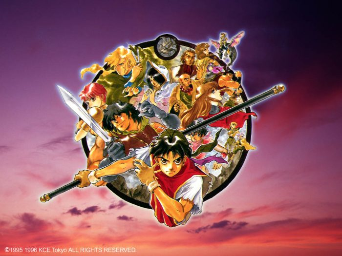 Artwork from Suikoden 1 featuring several of the 108 Stars of Destiny