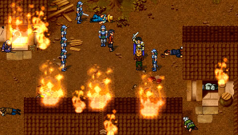 Screenshot from Suikoden II of Luca Blight and his soldiers razing a village