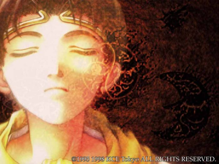 Suikoden II artwork of a boy closing his eyes in deep thought.