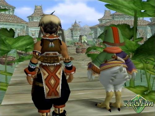 Screenshot from Suikoden III featuring protagonist Hugo and his anthropomorphic duck friend Sgt. Joe