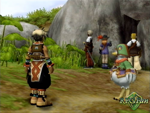 Hugo, Sgt. Joe, Lilly Pendragon, Reed, and Samus outside The Ancient Highway in Suikoden III.