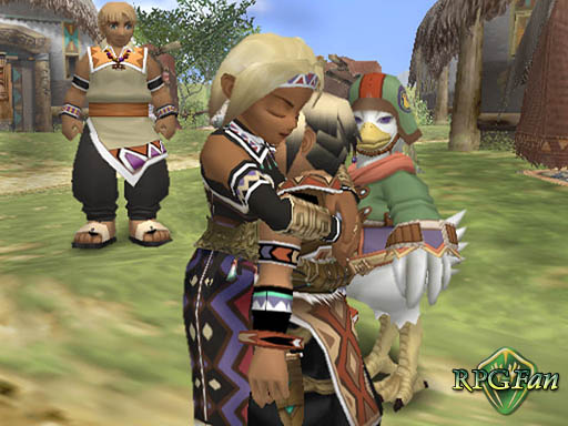 Lucia hugging her son Hugo, and Sgt. Joe watching in the background, in Suikoden III.