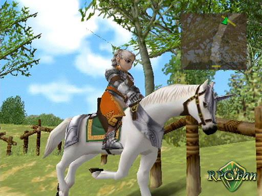 Chris Lightfellow riding a white horse in Suikoden III