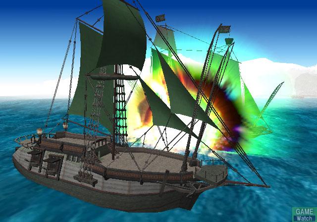 Screenshot from Suikoden IV featuring a naval battle