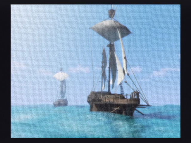 A screenshot of a pair of ships sailing the open sea in Suikoden IV.