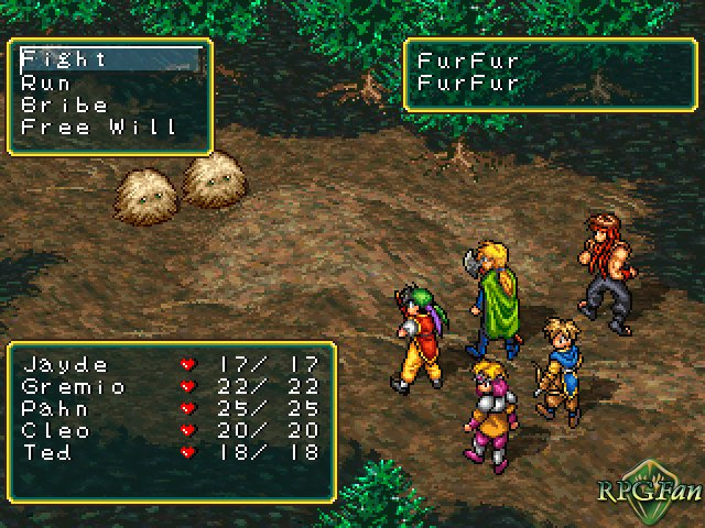 """Battle screen from Suikoden, featuring a group of adventurers on the right looking up at two """"Free Will"""" creatures in the top left."""