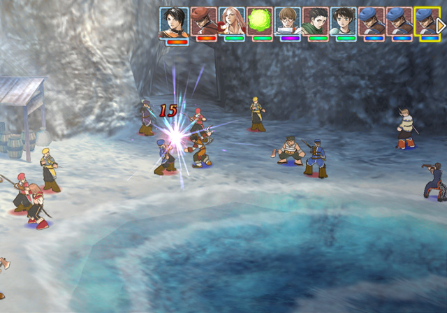 Screenshot from Suikoden Tactics featuring a battle in a seaside cave