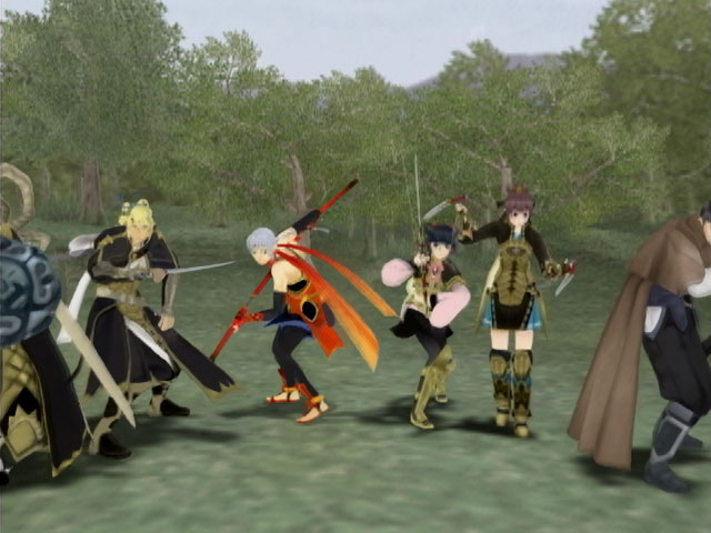Screenshot from Suikoden V featuring the hero and the knights of Falena
