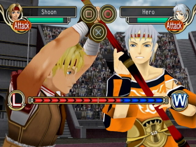 Screenshot from Suikoden IV featuring the hero engaged in a duel