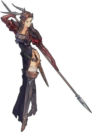 Tactics Ogre: Let Us Cling Together  artwork of brunette warrior clad in leather and plate armor, wielding a thin metal spear
