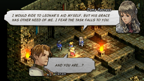 A conversation between Denam and Dame Ravness in Tactics Ogre in a fire-lit and rundown stone building.