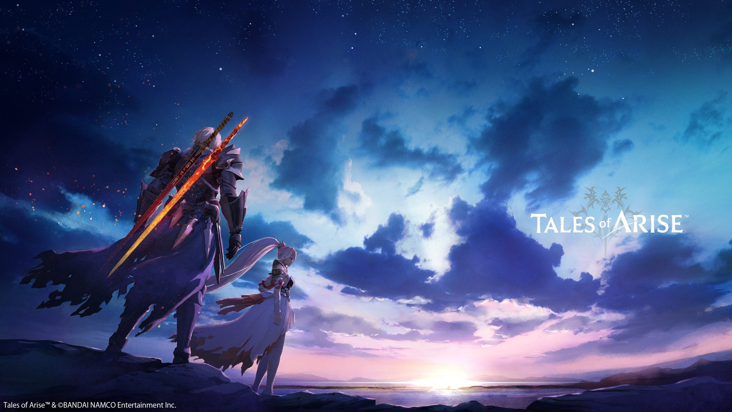 The protagonist of Tales of Arise look out upon a setting sky.