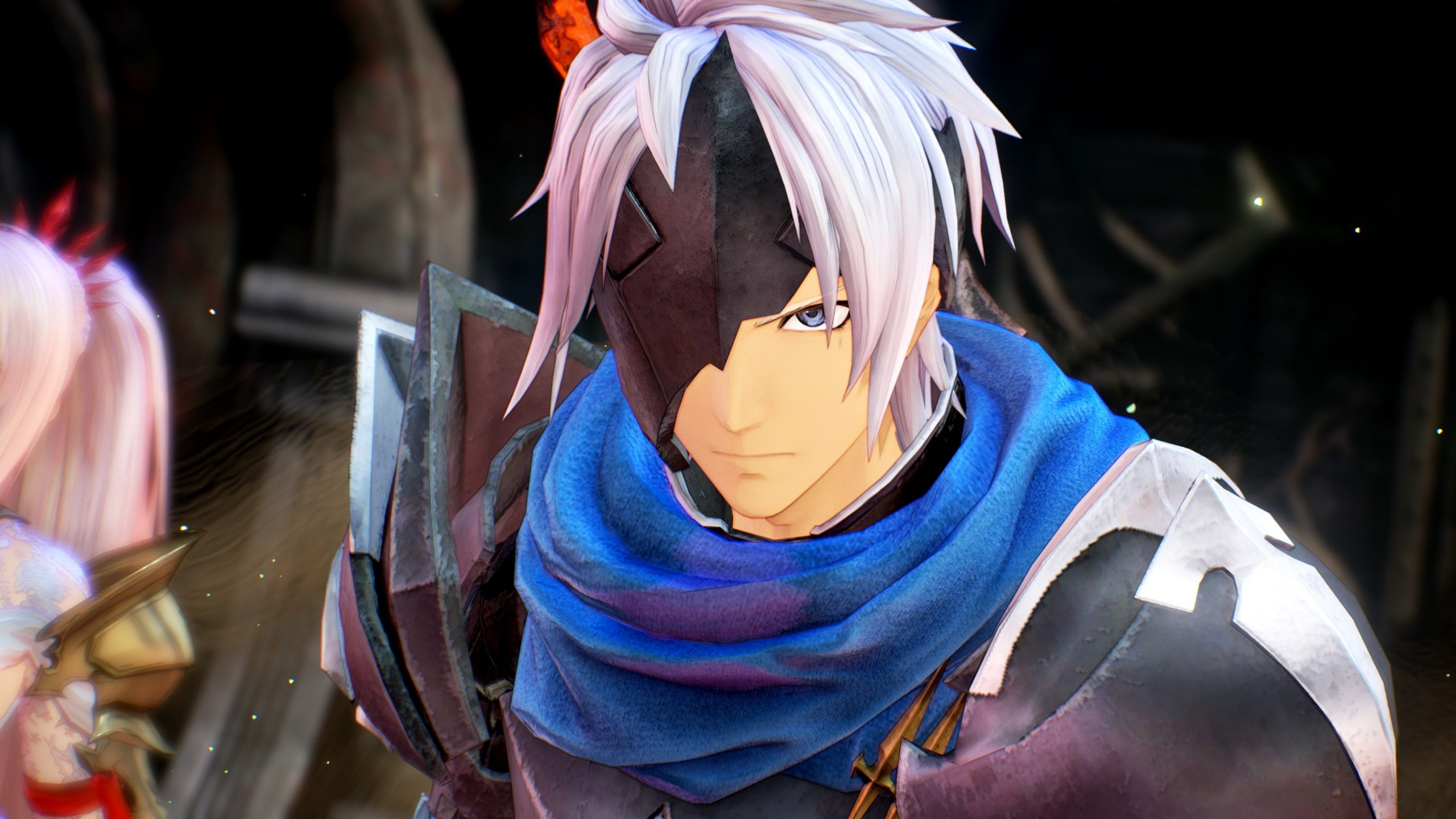 A close up of the protagonist of Tales of Arise, called Alphen, who has half a mask obscuring half of his face.