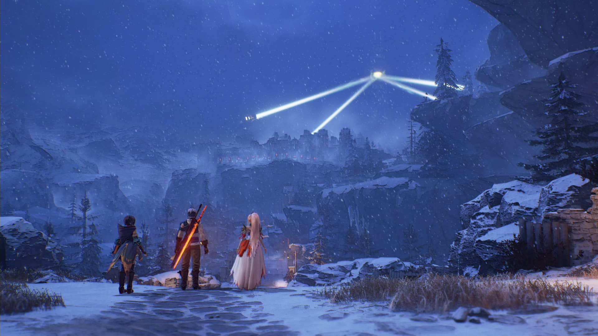 Screenshot From Tales Of Arise Featuring A Trio Of Characters Overlooking A Vista