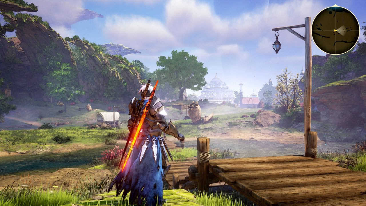Tales of Arise's protagonist Alphen stands in the middle of a land of green.
