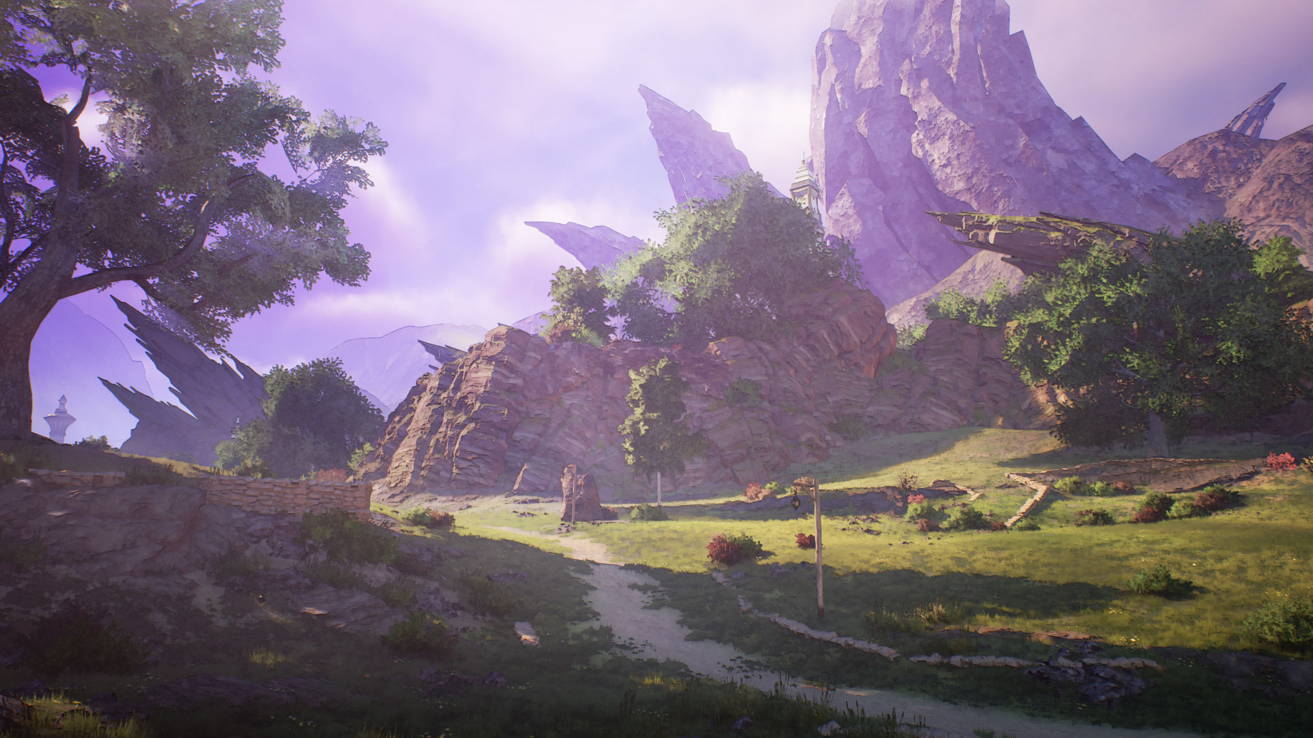 A road leads up to some jutting mountain peaks in Tales of Arise.