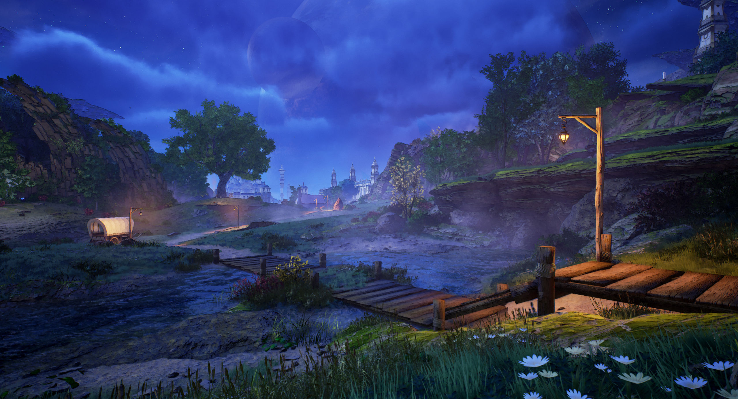 A beautiful night sky shot of a pier on a lake in Tales of Arise