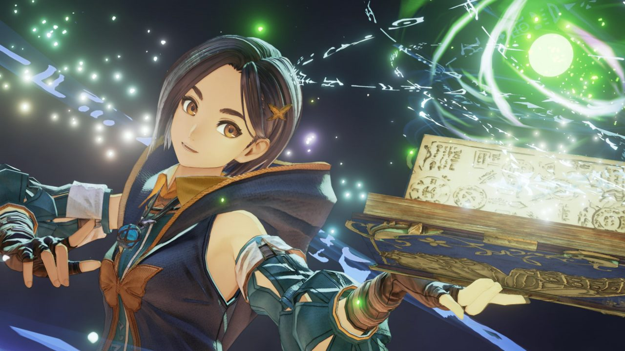A young woman casts a spell from a book full of diagrams. A glowing green ball surrounded by arcane runes floats above the book.