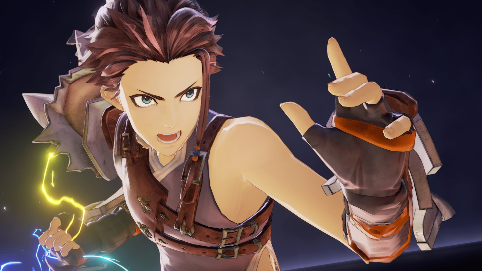 Tales of Arise Screenshot of a thin man wearing a leather harness striking a martial arts pose.