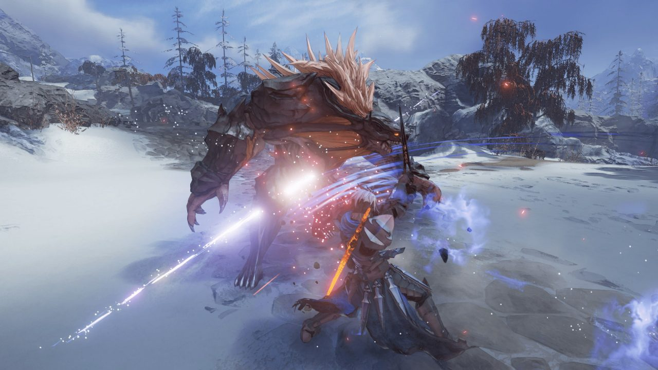 In a snowy area, a man with a sword attacks a humanoid wolf-like beast in Tales of Arise.