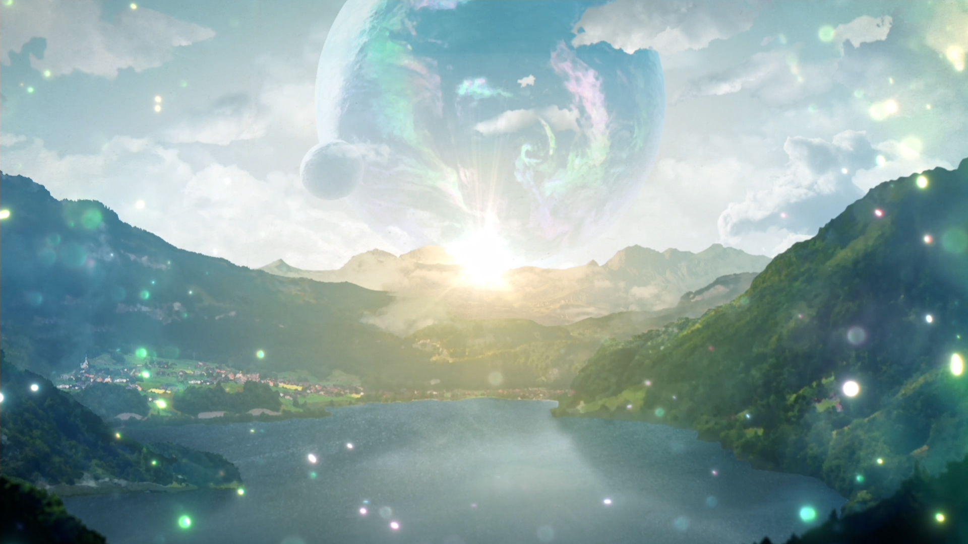 A planet hovers low in the scy over the lake with sparkle effects in Tales of Arise.