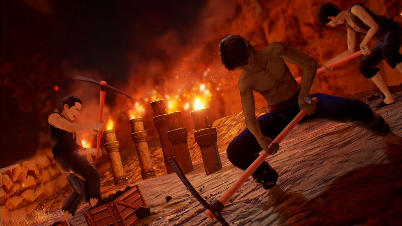 Tales of Arise screenshot depicting three shabbily-dressed men working via torchlight with pickaxes.