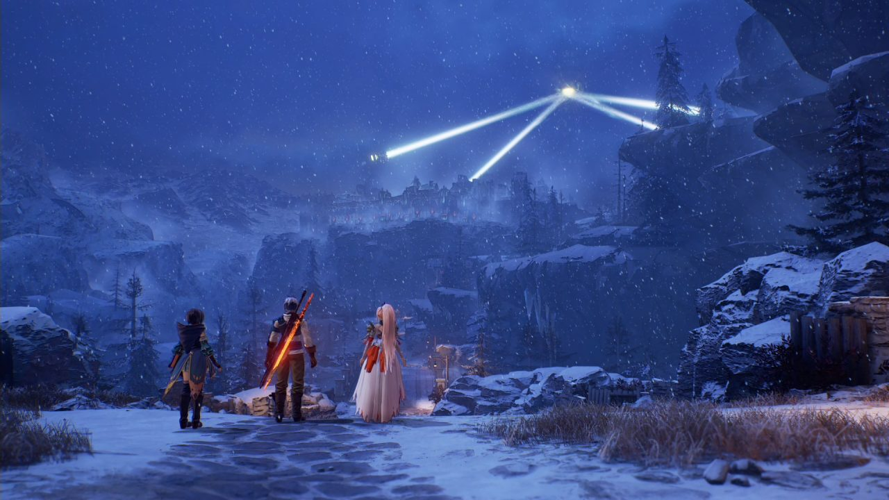 A man and two women stand on a snowy road looking at a city on a cliff. Four giant lasers intersect about the city.