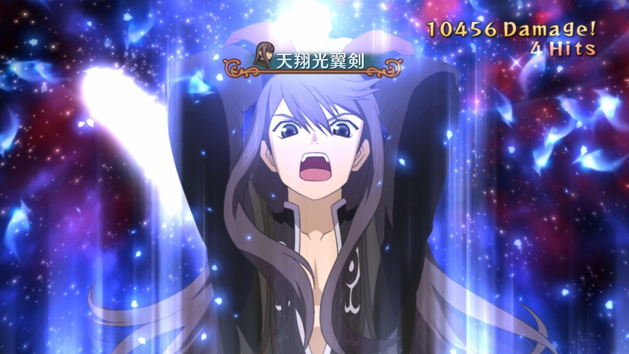 Screenshot From Tales of Vesperia of a long-haired man raising his arms up while yelling, ready to attack.
