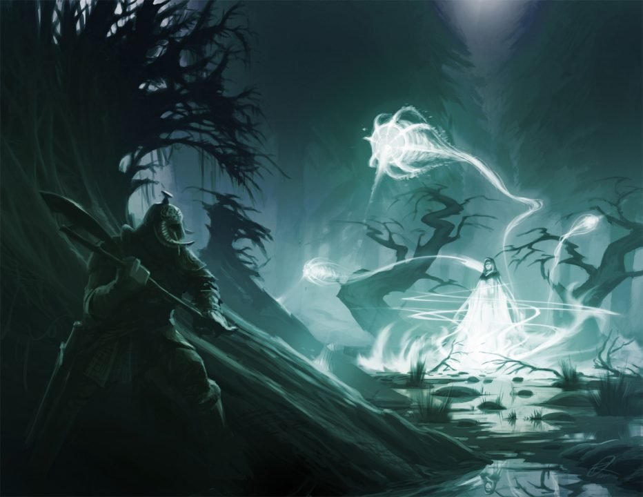 Eerie white light dominates the right side of the screen as the Dragonborn observes a ghostly woman from a hiding place on the left.