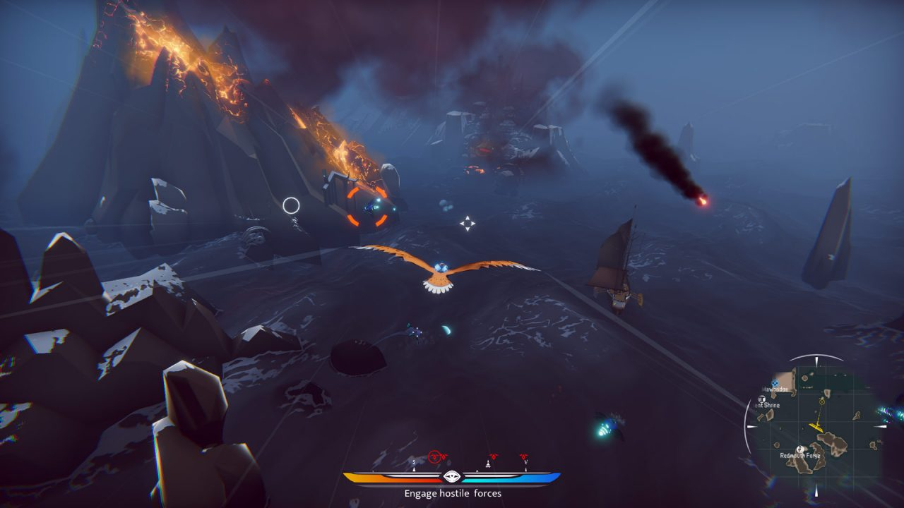 The Falconeer screenshot where the falcon targets some enemies to drop bombs under a dark sky.