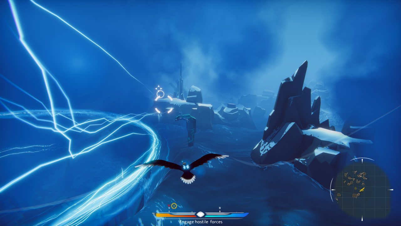 The player rides their falcon above a deep blue sea in The Falconeer.