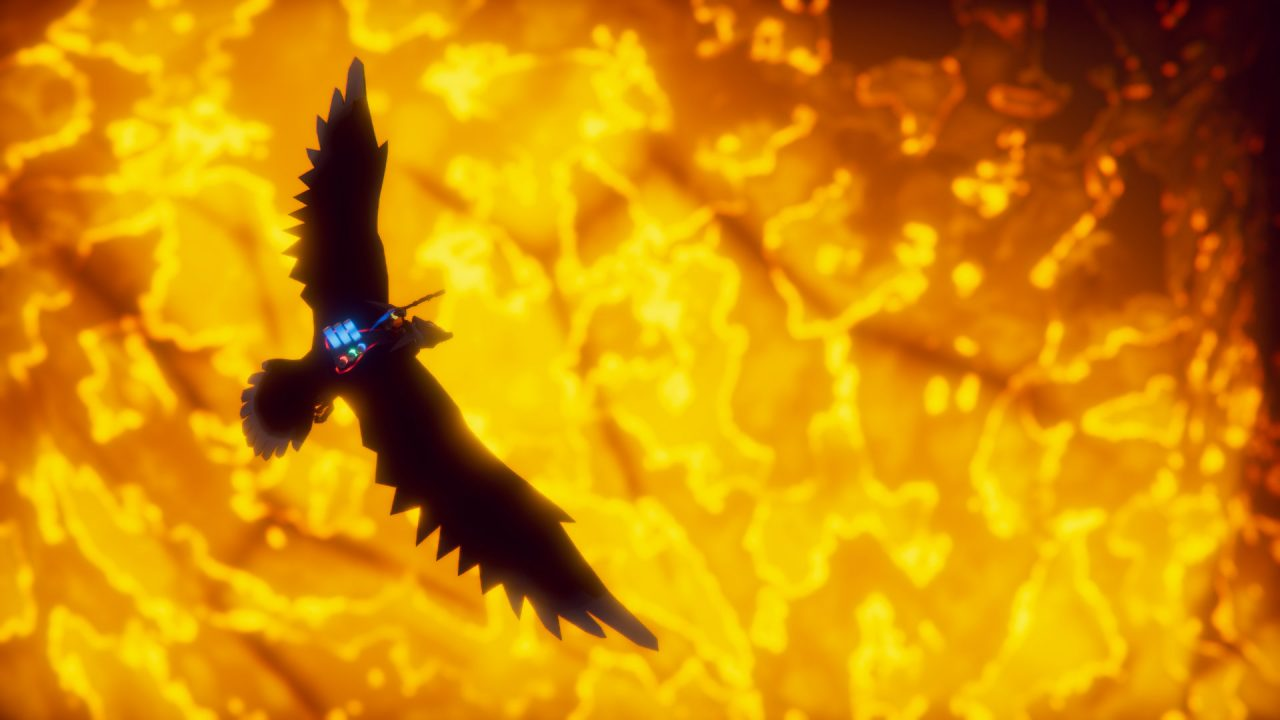 The Falconeer Screenshot of Flying Over Flames