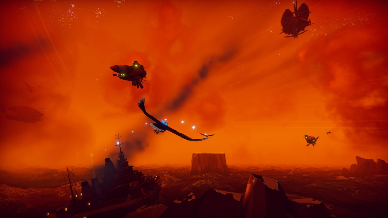 The bird and titular hero soar through a sunset sky in The Falconeer.