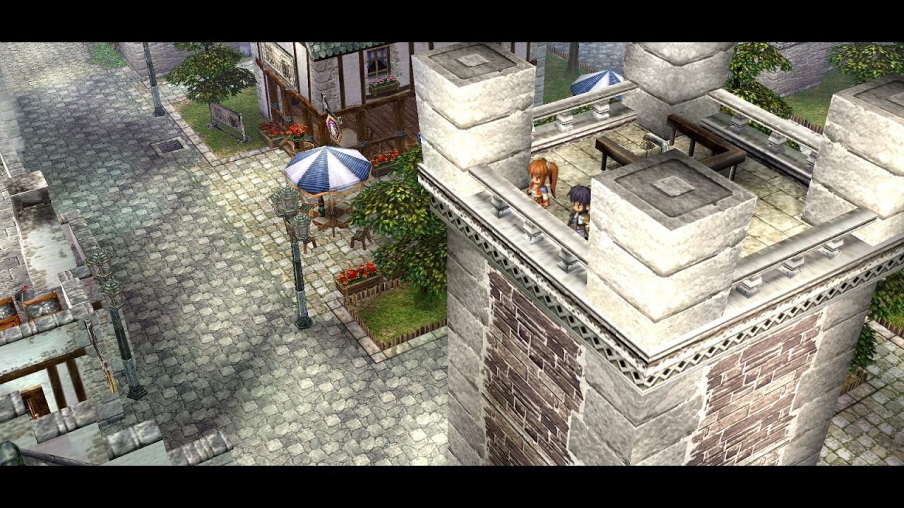The Legend of Heroes: Trails in the Sky FC  screenshot of Estelle and Joshua observing Rolent from the top of the clock tower.