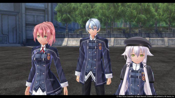 Trails of Cold Steel IV screenshot of Juna, Kurt, and Altina in their school uniforms.