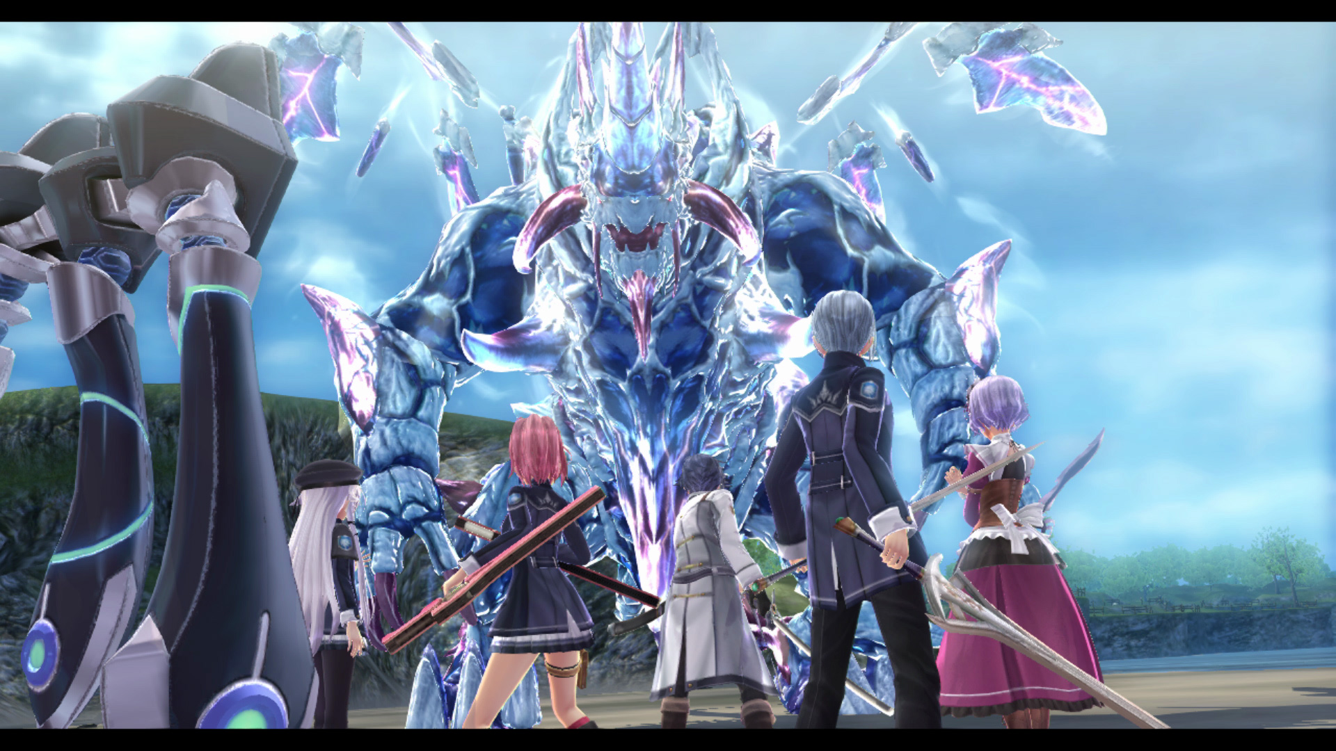 The Legend of Heroes: Trails of Cold Steel III screenshot featuring the group facing a crystalline foe.