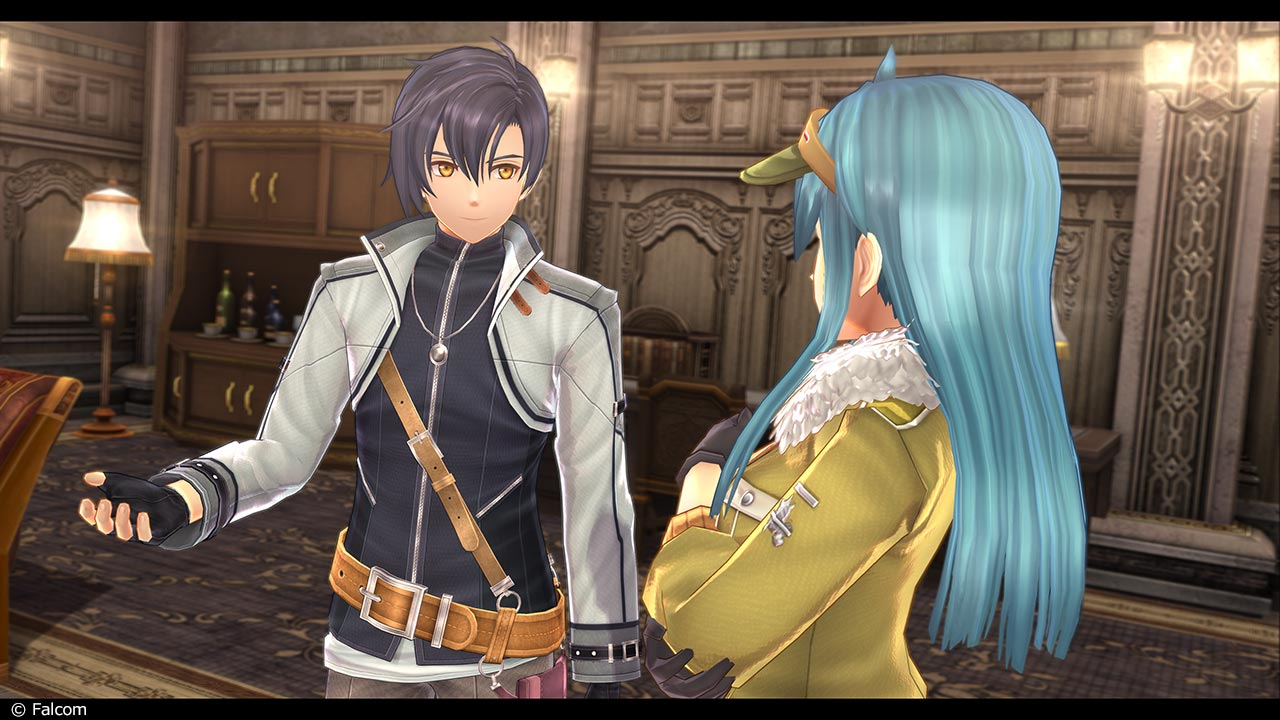 Screenshot of Rean in an explaining posture toward a blue-haired woman with her arms folded.
