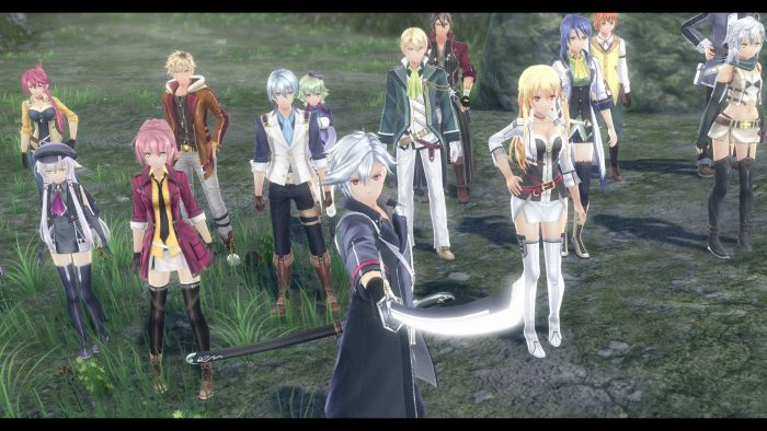 A screenshot of some of the key cast from The Legend of Heroes: Trails of Cold Steel IV.