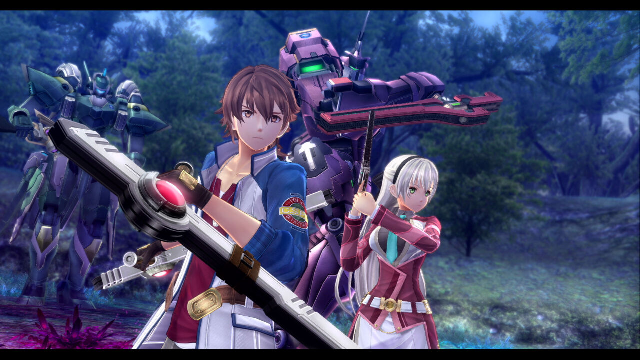 Lloyd (male with short brown hair) and Ellie (long-haired female with very light hair) behind him show off their weapons in the forest with mechinal figures backing them up.