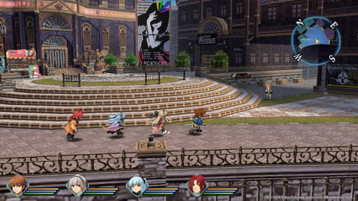 Lloyds Bannings, Elie MacDowell, Tio Plato, and Randy Orlando walk through Crossbell in The Legend of Heroes: Zero no Kiseki Kai