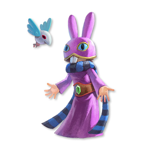 Artwork of Ravio, a mysterious merchant dressed in a purple robe, striped scarf, and a cartoony purple rabbit-like mask/helmet in The Legend of Zelda: A Link Between Worlds.