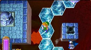 The Legend of Zelda: A Link Between Worlds Screenshot of Link in an ice-themed dungeon.