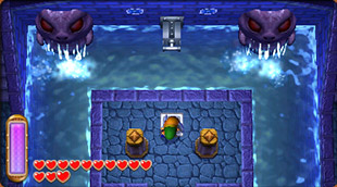 The Legend of Zelda: A Link Between Worlds Screenshot of Link on dry ground surrounded by a room of water in the Swamp Palace.