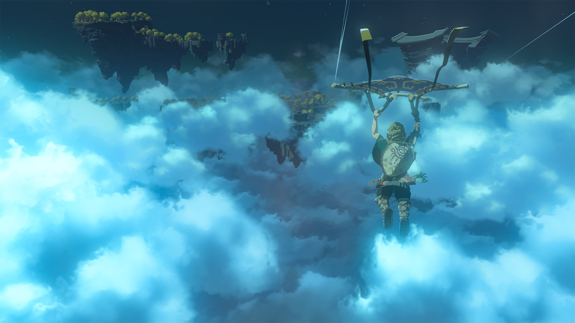 The Legend of Zelda: Breath of the Wild 2 Screenshot of Link paragliding in a vast open cloudy sky with floating islands across the landscape.