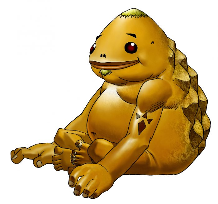 A stocky Goron with a rough rocky backside sitting and smiling from The Legend of Zelda: Ocarina of Time.