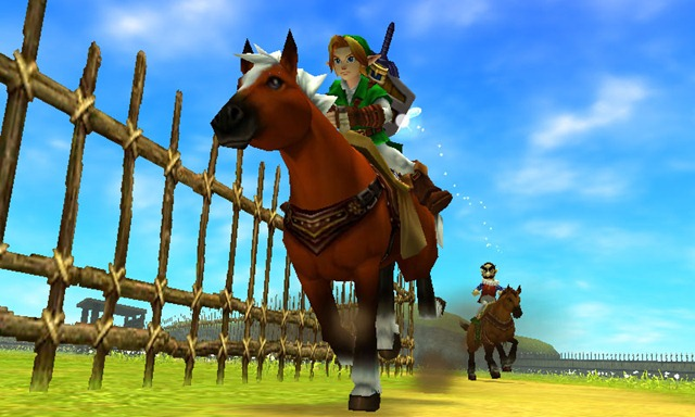 Link riding Epona during a race at LonLon Ranch in The Legend of Zelda Ocarina of Time 3D.